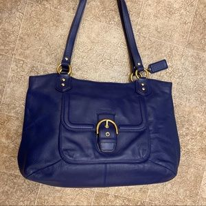 Coach blue leather tote